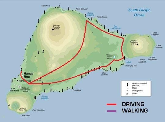 TOUR A THE MOAI OF EASTER ISLAND EASTER ISLAND SPIRIT - Easter island map